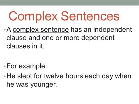 exle of independent clause conjunctions and complex sentences ppt