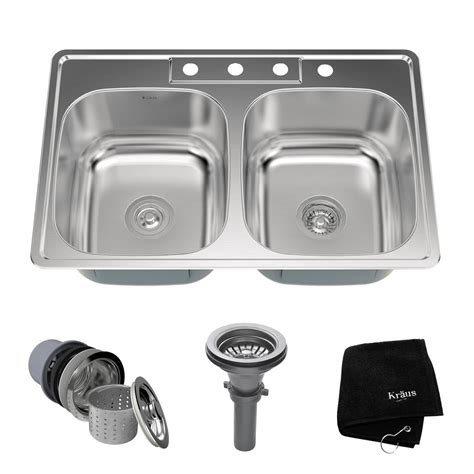 stainless steel drop in dry kraus drop in stainless steel 33 in 4 hole double basin