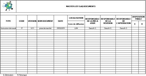document master list template syst 232 me documentaire iso 9001 pour graine de qualit 233