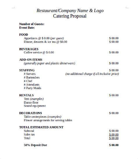 Request For Catering Template Request For Template 10 Free Word Pdf