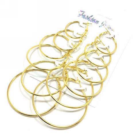 Premium Anting Korea Minimalist Earrings 6 Pairs large thin hoop earrings rhinestone ear stud set wedding gifts ebay