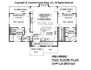 reverse floor plan large craftsman house plan chp lg 2810 ga sq ft large