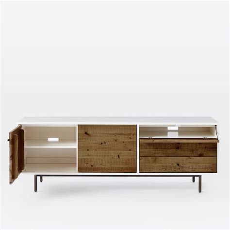 long reclaimed wood media cabinet reclaimed wood lacquer media console long west elm