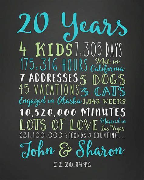 20th Anniversary Gift, 20 Year Wedding Anniversary