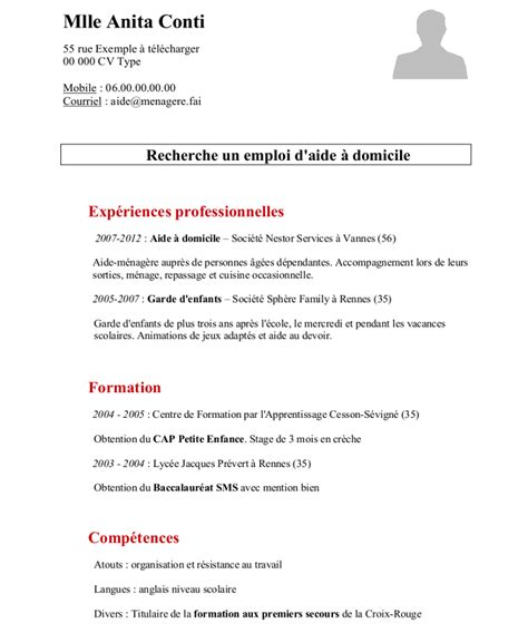 Exemple De Cv Travail by Exemple De Cv Aide M 233 Nag 232 Re