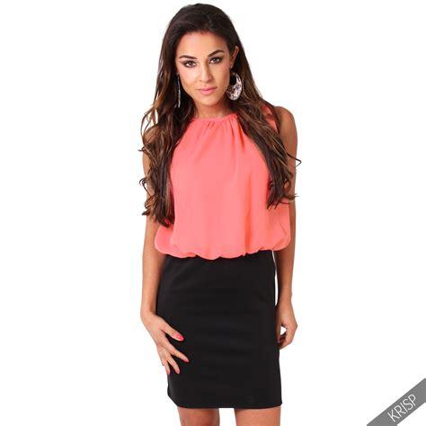 Baju Office Top Ef womens smart casual bodycon contrast mini pencil office dress chiffon top skirt ebay