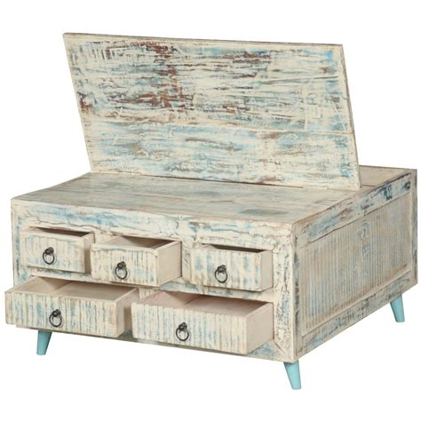washed wood box l white washed reclaimed wood 35 5 quot sq coffee table 5 drawer