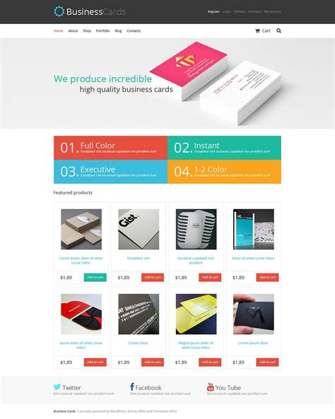 card website template responsive jigoshop photography themes