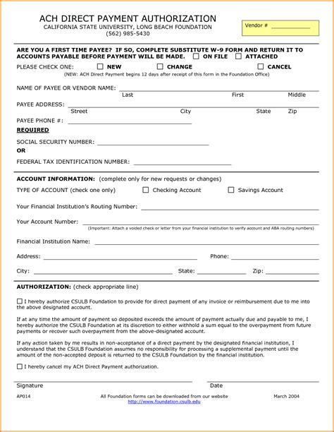 ach authorization form template authorization form template credit card authorization