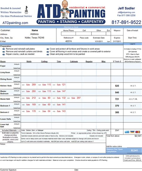 painters estimate template atd painting pricing specials coupons