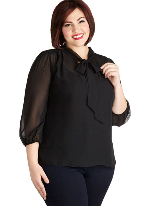 Terlaris Top Atasan Blouse Classie Black Ll sheer bliss top in black plus size mod retro vintage sleeve shirts modcloth