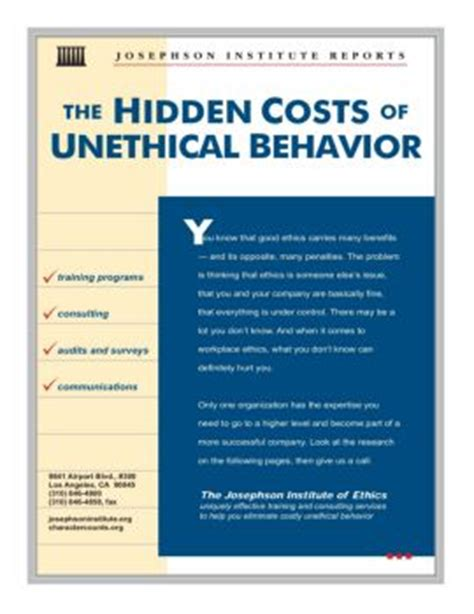 the costs of unethical behavior josephson institute fliphtml5