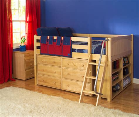 Bunk Bed Dresser Maxtrix Low Loft Bed W Built In Dresser Bookcase 604