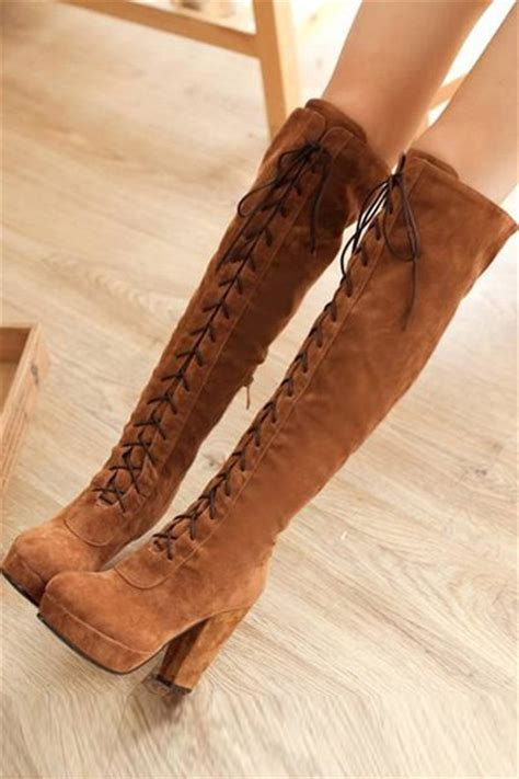 light brown suede   knee heels boots  womens
