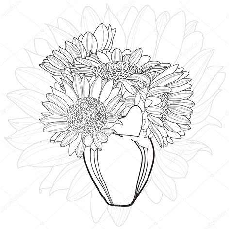 coloring page of vase with sunflowers 해바라기 꽃다발 꽃병 스톡 벡터 169 merion merion 91555096