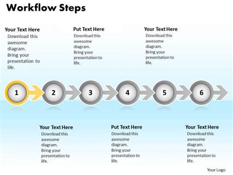 ppt continuous way to show six steps workflow powerpoint