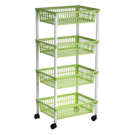Green Kitchen Canisters 4 tier plastic fruit vegetable kitchen storage trolley rack