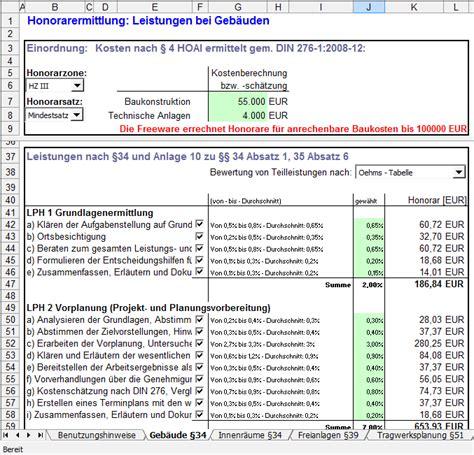 beispiel angebot nach hoai architektenhonorare nach hoai 2013 berechnen