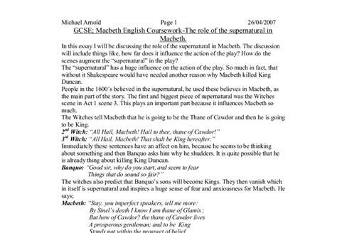 Macbeth Supernatural Essay by Of The Supernatural In Macbeth Essay Myteacherpages X Fc2