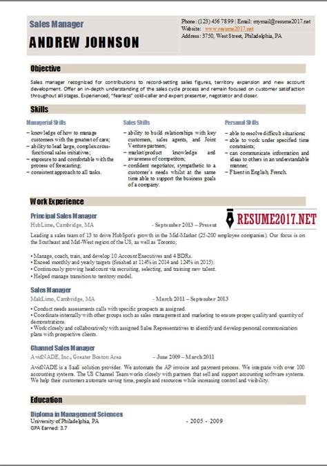 Sales Manager Resume by Sales Manager Resume Template 2017