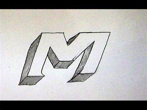 M Drawing Photo by How To Write Letter M In 3d Easy 3d Sketch Tutorial For