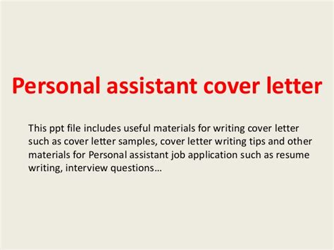 Household Assistant Cover Letter by Personal Assistant Cover Letter