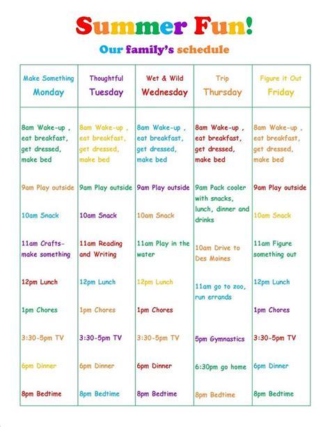 how do i make my calendar summer vacation daily schedule summer ideas