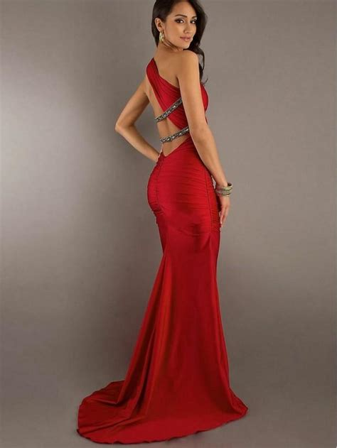 diy hairstyles for one shoulder dresses one shoulder beaded red floor length evening dress party
