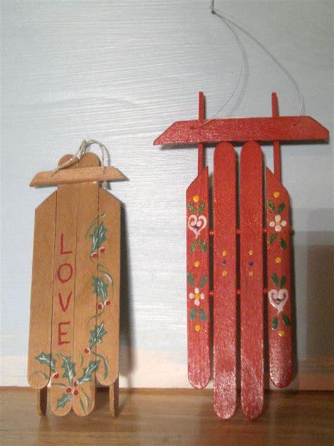 popsicle stick christmas tree ornaments vintage handmade