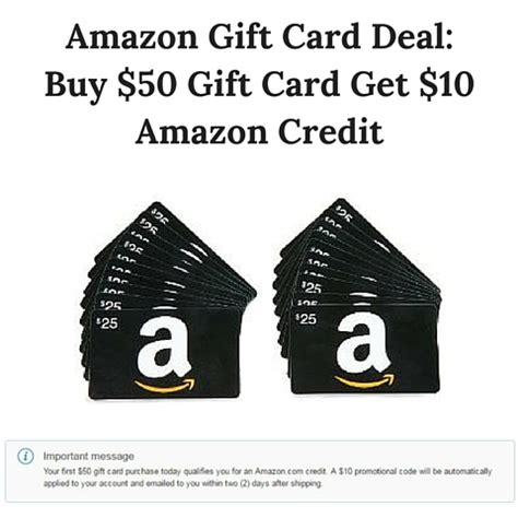 Buy Gift Cards With Credit Cards - amazon gift card deal buy 50 gift card get 10 amazon credit