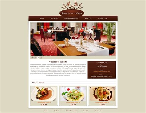 restaurant templates restaurant website template free restaurant web