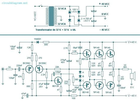 100 watt audio lifier circuit diagram sound diagrams
