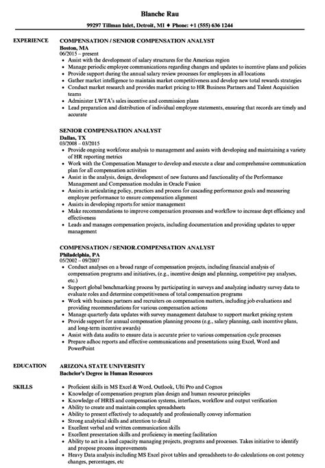 compensation analyst resume senior compensation analyst resume sles velvet