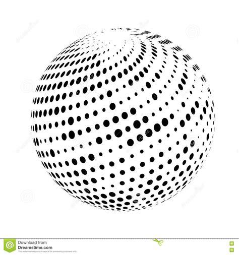 dot pattern globe halftone sphere isolated on white background stock photo
