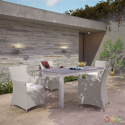 5 pc patio dining set junction contemporary 5pc outdoor patio wicker dining set
