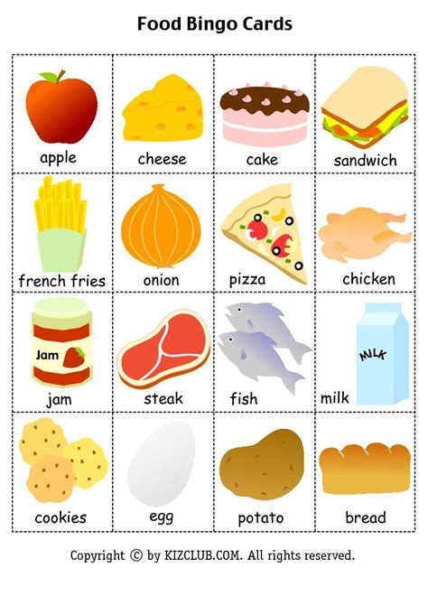 Free Template Food Cards by Is Food Bingo Cards