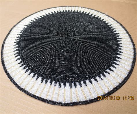 beaded table mats and coasters accessories handmade beaded black white placemats
