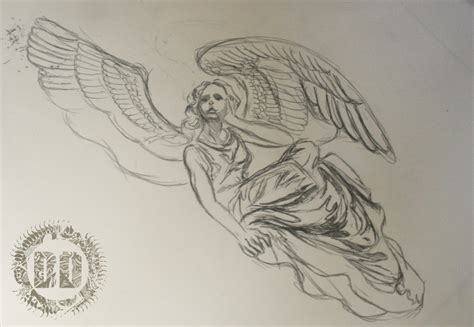 skeleton angel tattoo design dark design graphics