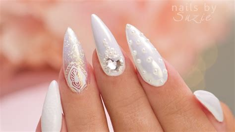 white on white 5 nail designs