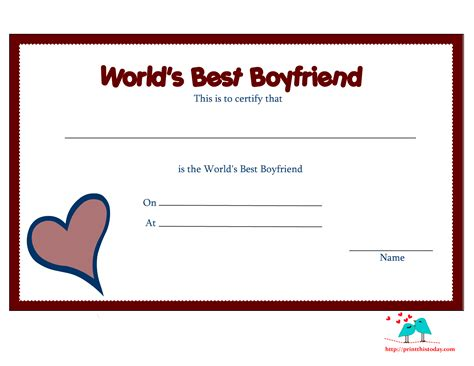 best friend certificate templates free printable world s best boyfriend certificates