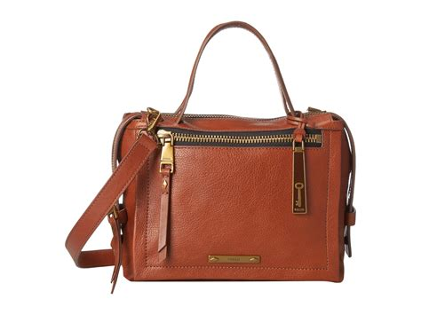 Fossil Satchel Brown fossil small satchel in brown lyst