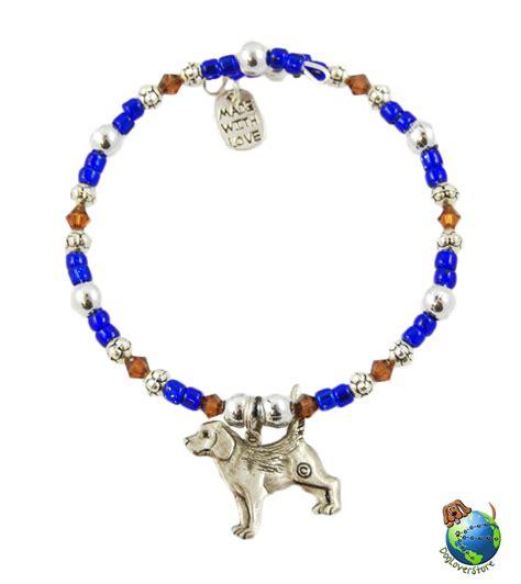 Handmade Beaded Bracelets - beagle beaded charm bracelet silver handmade
