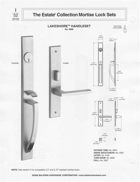 baldwin mortise lock diagram baldwin contemporary style solid brass handle set lakeshore