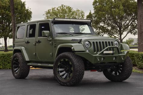 green jeep rubicon spotlight custom matte green jeep wrangler