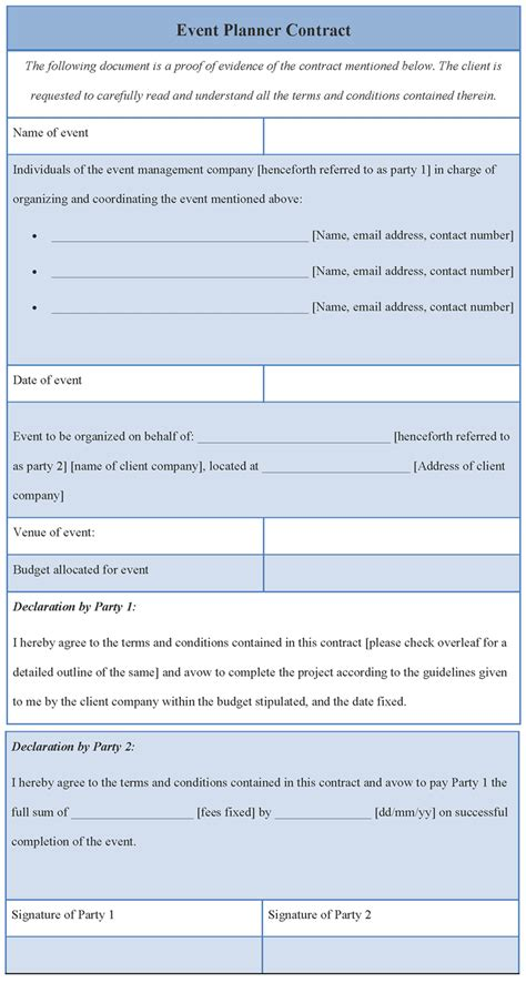 event planner agreement template contract template for event planner format of event