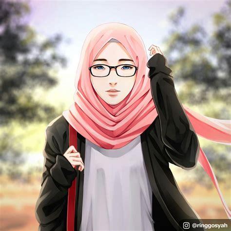 hijab gambar kartun muslimah bertopi keren ideku unik
