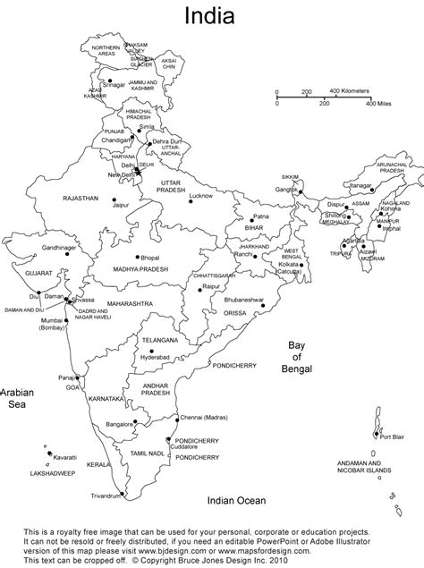 printable india map political printable map of india