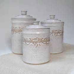 White Ceramic Kitchen Canisters White Kitchen Canisters Set Of 3 Made To Order Storage And