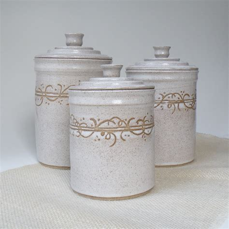 Ceramic Canisters For Kitchen White Kitchen Canisters Set Of 3 Made To Order Storage And
