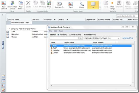 access 2010 import contacts from outlook address book